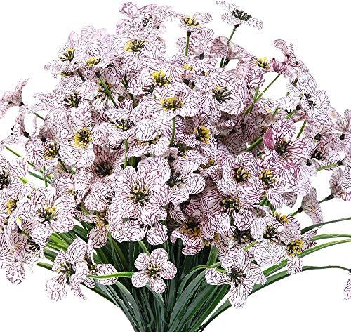Ruiuzioong Flores artificiales de color violeta para exteriores, resistentes a los rayos UV, 6 unidades, no se decoloran, plantas de plástico sintético, decoración del hogar (blanco)