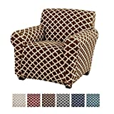 Home Fashion Designs Printed Twill Arm Chair Slipcover. One Piece Stretch Chair Cover. Strapless Arm Chair Cover for Living Room. Brenna Collection Slipcover. (Chair, Chocolate)