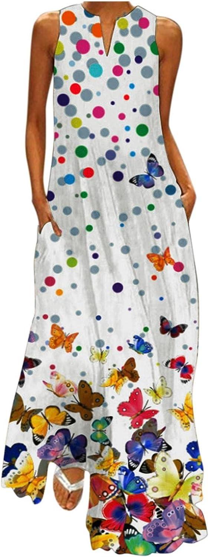 Tavorpt Summer Dresses for Women,Women's Casual Sleeveless Maxi Long Dress Tunic Ruffled Beach Party Sundress Boho Dress