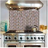 Wociaosmd 18 Piezas Multi Mosaico Azulejos calcomanía DIY Transferencia Cocina baño para decoración de baño, B, Size:10x10x0.5cm x18pcs, 1
