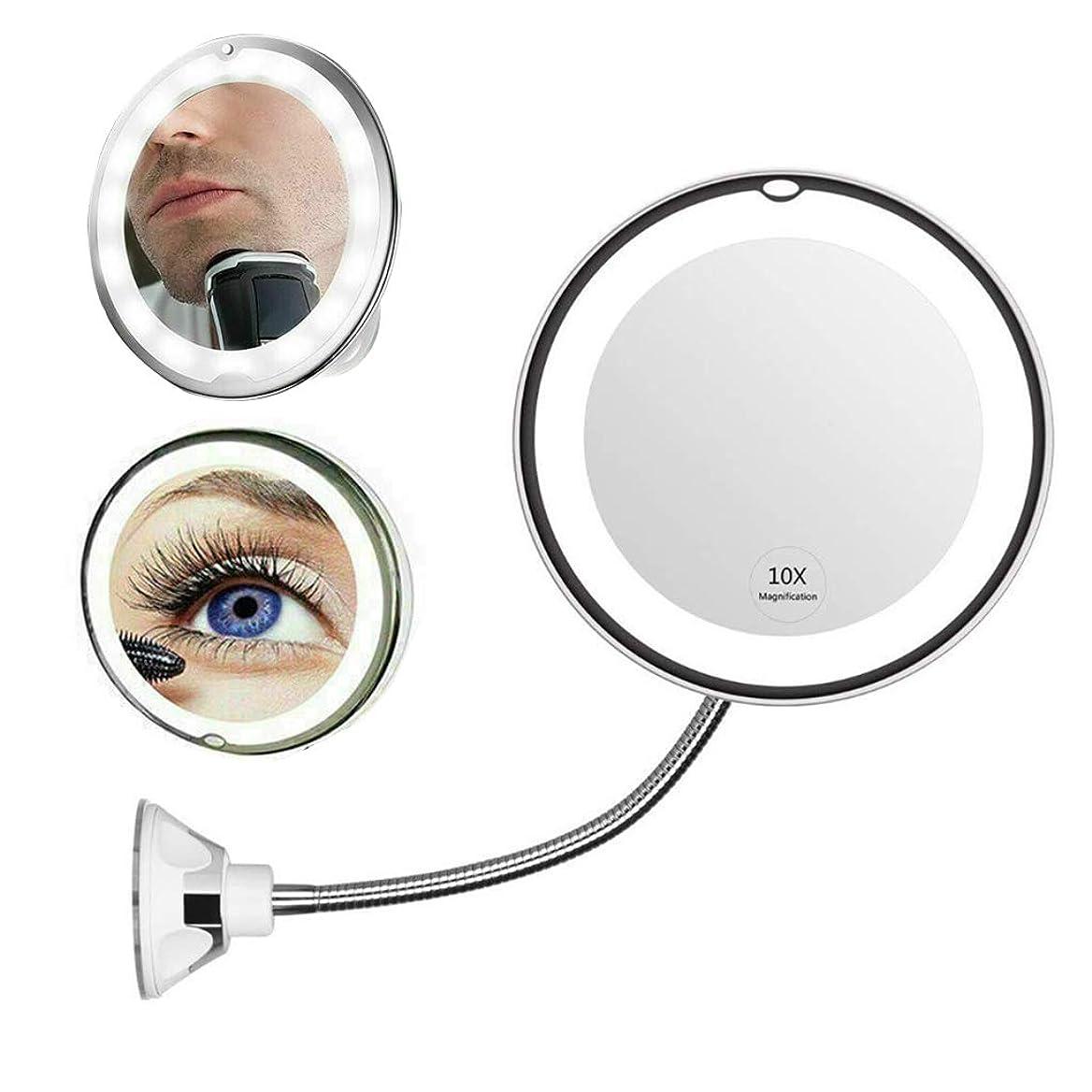 フォーマット受け取るブローホールVanity Mirror 10X拡大化粧鏡LED照明付き化粧鏡フィルライトナイトランプ、360°スイベル&ホームシャワー用サクションカップバスルーム
