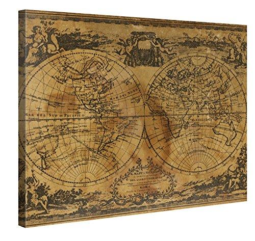 PICANOVA Art Retro Weltkarte 100x75cm – Premium Leinwanddruck – Kunstdruck Auf 2cm Holz-Keilrahmen Für Schlaf- Und Wohnzimmer Druck Auf Leinwand