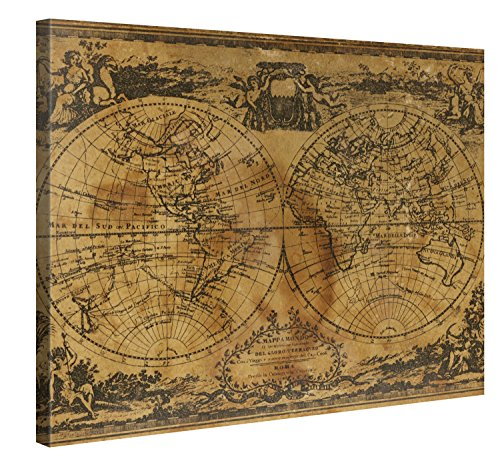 Gallery of Innovative Art Retro Weltkarte Leinwanddruck 100x75 cm – Antike Weltkarte – XXL...