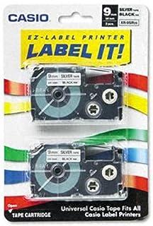 "Casio XR-9SR2S, 1/4""(9mm) Labelling Tape, Black on Silver, Pack of 2 (XR9SR2S)"