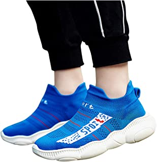 Hopscotch Boys Mesh Text Print at The Sides Slip Ons in Blue Color