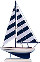 Hampton Nautical Wooden Blue Striped Pacific Sailer Model Sailboat Decoration, 17