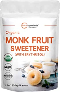 Organic Monk Fruit Sweetener with Organic Erythritol Granules, 1:1 Sugar Substitute, 4 Pounds (64 Ounce), Natural Sweetene...