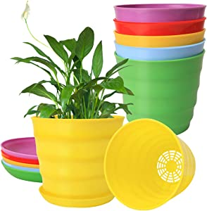 7.5'' Plastic Garden Planting Pots with Drainage Holes and Saucers, 5 Planter Nursery Pots with Trays for Indoor Outdoor Plants, 5pcs 7.5'' Flower Pots with 5 Pallets