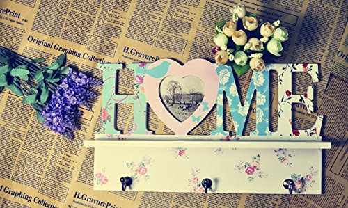 Tamia-Home - Appendiabiti con ganci e cornici portafoto, stile rustico