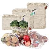 esonmus Bolsas de la Compra Reutilizables 8PCS Bolsas Reutilizables de Productos de Malla Bolsas De Compras para Juguetes De Verduras De Frutas Lavable