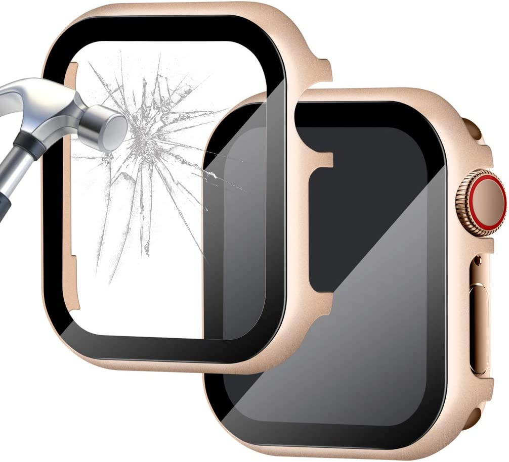 Falandi Aluminum Case Compatible with Apple Watch 44mm, Case with HD Tempered Glass Screen Protector, Metal Frame Face Cover Bumper Full Protective for iwatch Series 6/ SE/ 5/ 4, Vintage Gold 44mm
