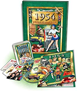 1954 Flickback Book, DVD & Trivia Playing Cards Combo: Birthday Gift or Anniversary Gift