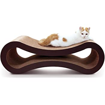 ScratchMe Cat Scratching Post Lounge Bed, Cat Scratcher Cardboard Board Pads Catnip and Groomer Brush, Infinity Shape,