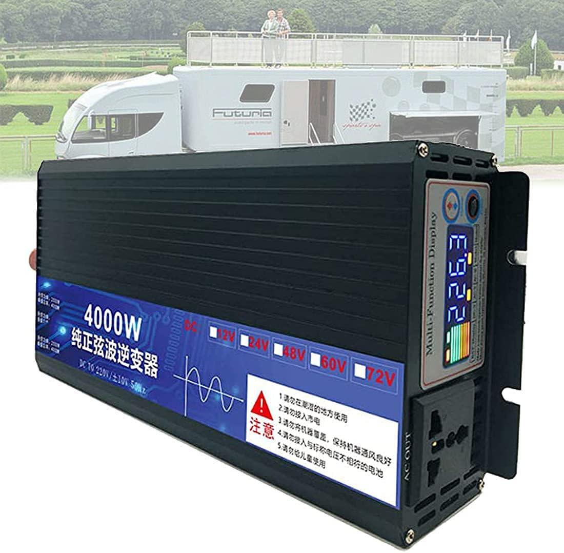 GZTYLQQ 3000w 4000w 5000w inversor de energía de Onda sinusoidal Pura DC 12v 24v a AC 110v convertidor de Pantalla a Color, con Tomas de Corriente alterna, Ventiladores de refrigeración Dobles, para