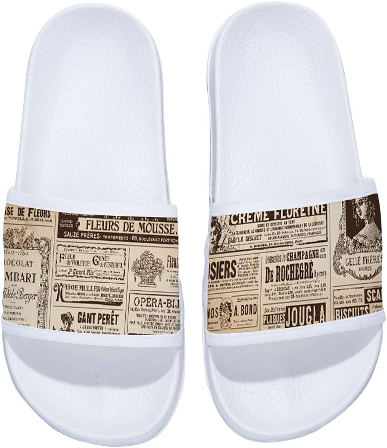 Buteri Two Different Sides Vintage Newspaper Old Time Slippers Non-Slip Quick-Drying Slippers for Womens
