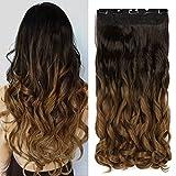 Neverland Beauty & Health 6#/27# - Extensiones de clip de pelo ondulado, 60 cm de largo, mechas ombré (teñido por inmersión)