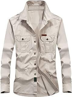aihihe Mens Long Sleeve Shirts Big and Tall Button Down Casual Military Jacket Shirts Winter Warm Jackets Coats Tops