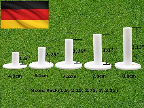 FINGER TEN Golftees Gummi Lang Kurz Range Wert Set of 5 Stück 76mm,Golf Tee Tees Flex Für Matte (Weiß, 5 Stück Alles 3'')