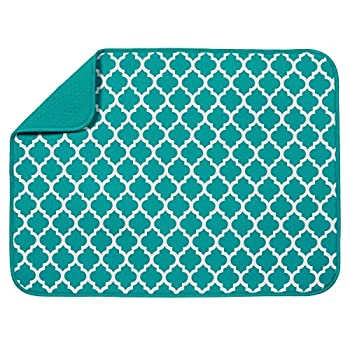 S&T INC Absorbent Reversible XL Microfiber Dish Drying Mat for Kitchen 18 Inch x 24 Inch Teal Trellis