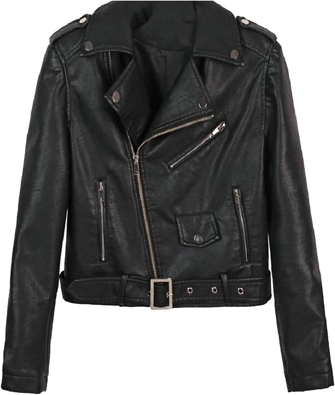 SmeilingCA Women's Belted PU Leather Coats Motorcycle Slim Outwears with Zipper