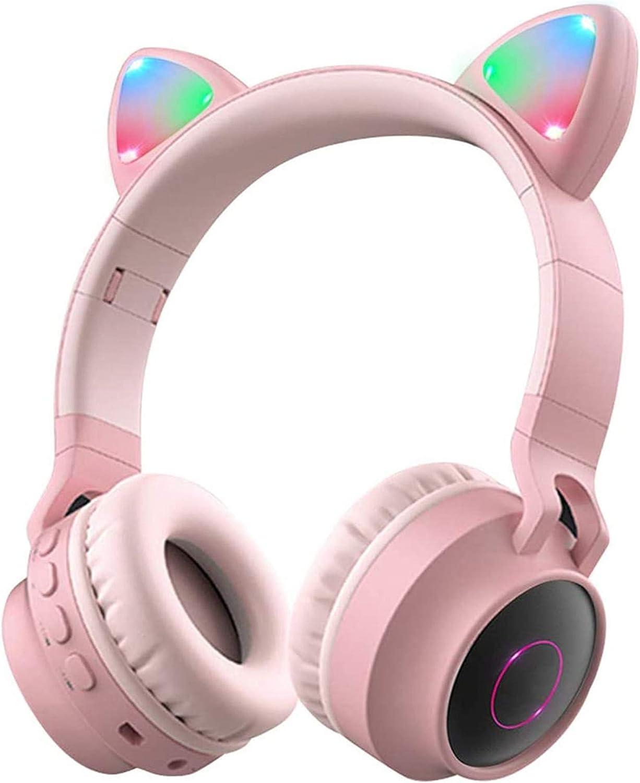Wireless Bluetooth Kids Headphones Cat Ear Bluetooth Wireless/Wired Headphones Volume Limiting LED Light Up Kids Wireless Headphones Over Ear with Microphone (Pink)