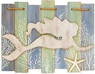 Barry Owens Swim Mermaid Slat Sign with Raised Mermaid, Resin Starfish and Rope Accent 0179 15.25 Inches x 11.25 Inches