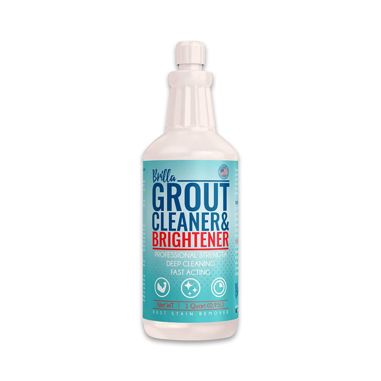 Grout Cleaner and Brightener: Deep Cleans Bathroom and Kitchen Tile Grout on Walls and Floor : 1 Quart Bottle