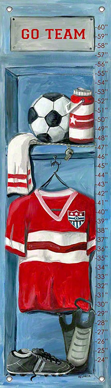 Oopsy Daisy Soccer Locker Growth Chart by Jones Segarra, 12 by 42-Inch