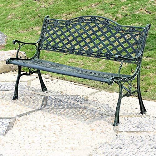 JLKDF Patio Bank Park Gartenbank Outdoor Metall Doppelsitz, Antik Finish Park Chair mit Aluminiumgussgestell, Accent Lawn Front Path Deck Möbel, Freizeit Eingangsbank mit Rückenlehne und