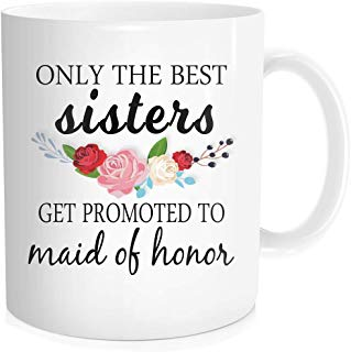 Waldeal Wedding Coffee Mug Bridal Shower Gift for Bride Tribe, Only The Best Sisters Get Promoted To Maid Of Honor, Best Friend Bestie, White Ceramic 11 OZ