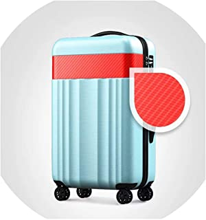 Youth Rolling Travel Luggage Universal Wheel 20/24/28 Inch Password Boarding Box Carry On Suitcase,Blue(A),28