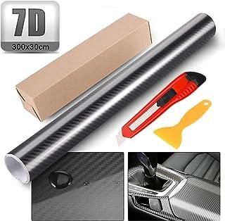 50X 11,8 Silence Shopping 3D Nero in Fibra di Carbonio Vinile Involucro Auto Fai da Te Involucro Vinile Rotolo Pellicola Autoadesiva Twill Weave Foglio Sticker 127X30cm