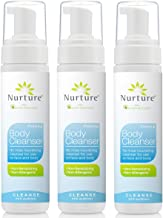 No Rinse Body Wash by Nurture | Full Body Cleansing Foam That Also Moisturizes, and Protects Skin - Non Allergenic - Non sensitizing - Rinse Free Wipe Away Cleanser - 3 Bottles