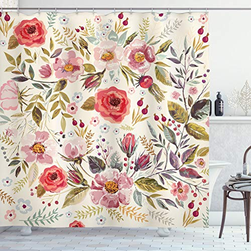 Ambesonne Shabby Flora Shower Curtain, Watercolor Abstract Spring Poppies Flowers Roses Buds Leaves Romantic Print, Cloth Fabric Bathroom Decor Set with Hooks, 70' Long, Cream Pink
