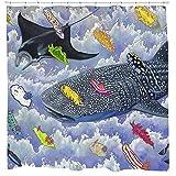 Wasserdichter & schimmelresistenter Duschvorhang Sharp Shirter Whale Shark Fish Set Dekor Strandthema Blaue Stoffhaken enthalten 180x180cm