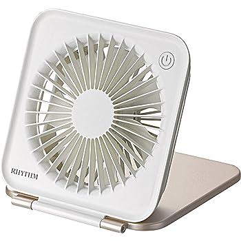 リズム時計 USB ファン 卓上 コンパクトファン 【 省エネ 】【 強風 】【 静音 】 DCブラシレスモーター式 携帯 収納 薄型 ピンク RHYTHM 9ZF022RH13