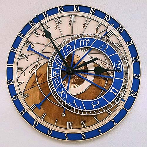 LucaSng Reloj De Pared Creativo Reloj De Madera Astronómico