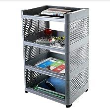 Maxigo Plastic 4 Layer Book Storage Display Rack Shelf Cabinet Unit Organizer for Living Room, Bed Room, Study Room (Gray)