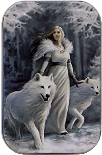 Anne Stokes - Small Metal Storage/Trinket Tin - Winter Guardians - White Wolves