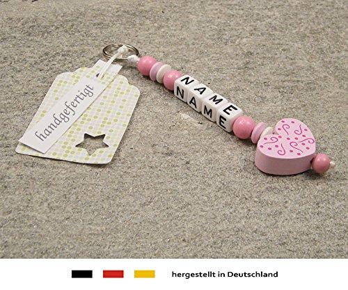 Naamhanger - hanger met naam - baby kinderen sleutelhanger voor wikkeltas, kleuterschooltas, schooltas of rugzak met sleutelring - meisje motief ornament hart in roze