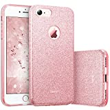 ESR Coque pour iPhone 7, Coque Silicone Paillette Strass Brillante Glitter, Bumper Housse Etui de Protection [Anti Choc] pour iPhone 7 (Rose Pailleté)
