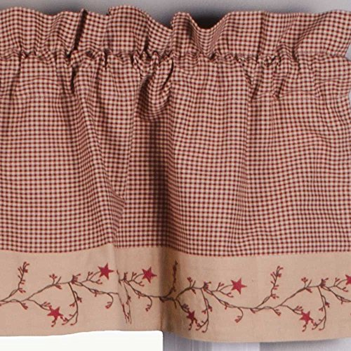 """Primitive Home Decors Star Berry Vine Gingham Check Barn Red and Nutmeg 72"""" x 15.5"""" Lined Cotton Valance"""