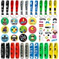 Video Game Party Supplies Favors 12Pcs KeyChain 12Pcs Bracelets 12Pcs Button Pins 1 Sheet Temporary Tattoos (25 Pcs) 5 Sheet Themed Stickers (25 Pcs) Birthday Decorations Game Fans Gift for Kids from Family Pro