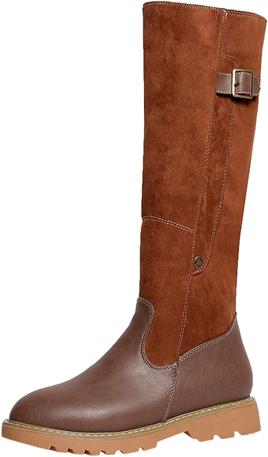 Boots For Women Fashion Wide Calf Square Heel Zipper Leather Boo