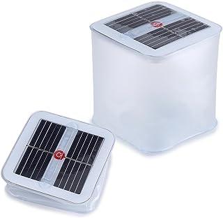 ライト led ランタン Yosoo ソーラーランタン インフレータブルLEDライト 10ランプビーズ 折りたたみ式 防水 アウトドア 屋外照明 台風対策グッズ 停電対策 卓上 テーブル (正方形)