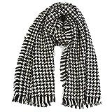 BOEHNER Señoras bufanda de invierno Súper suave y cálida, en blanco y negro Houndstooth modelos femeninos Cashmere Thick Shquinl Jacquard (175 * 80 cm)