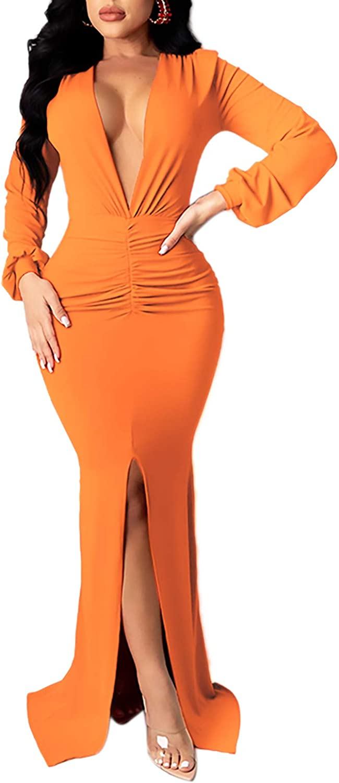 Vakkest Women's Sexy Evening Gown Long Sleeve Slit Dress Deep V Neck Bodycon Pencil Formal Maxi Dress