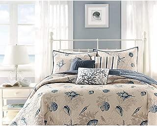 6 Piece Steel Blue Beige Animal Print Coverlet King Set, Cream Light Blue Coastal Star Fish Coral Motif Seashells Nautical Style, Reversible Adult Bedding Master Bedroom, Microfiber Polyester