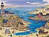 Bernice Winifred Puzzles pour Adultes Grand Puzzle, Vintage Paintings Landscape Jigsaw Puzzle (Sailing Harbour) -500 pièces