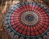 1 X Indian Mandala Round Roundie Beach Throw Tapestry Hippy Boho Gypsy Cotton Tablecloth Beach Towel, Round Yoga Mat By Rajrang